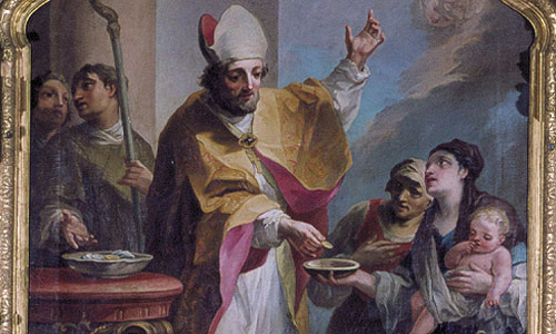 "Picture: Painting ""St Maximilian distributing alms"" (right-hand side altar)"