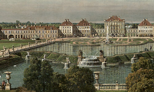 Picture: Nymphenburg Palace, view from the city side, painting by Canaletto, section