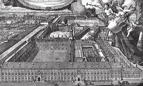 Picture: View of the Residence from the west, copper engraving by Michael Wening, 1701
