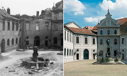 Picture: Fountain Court 1944 and today