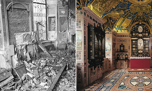 Picture: Ornate Chapel 1944 and today
